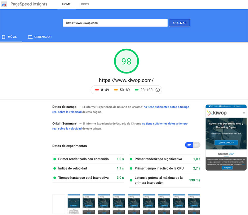 Nota 98 en Google PageSpeed Insights móvil Kiwop