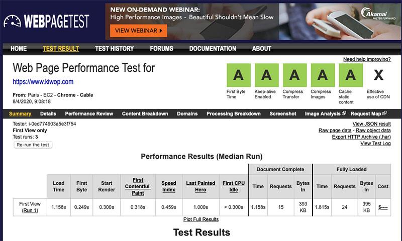 Note test speed WebPageTest