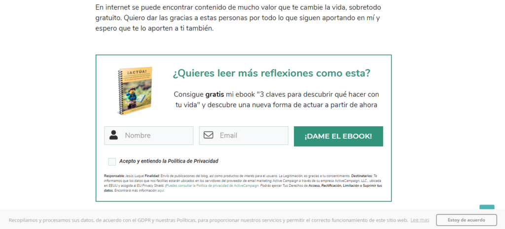 Ejemplo de un lead magnet en una estrategia de email marketing