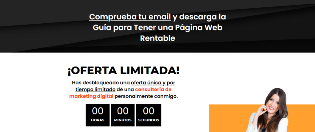 Ejemplo de tripwire en email marketing