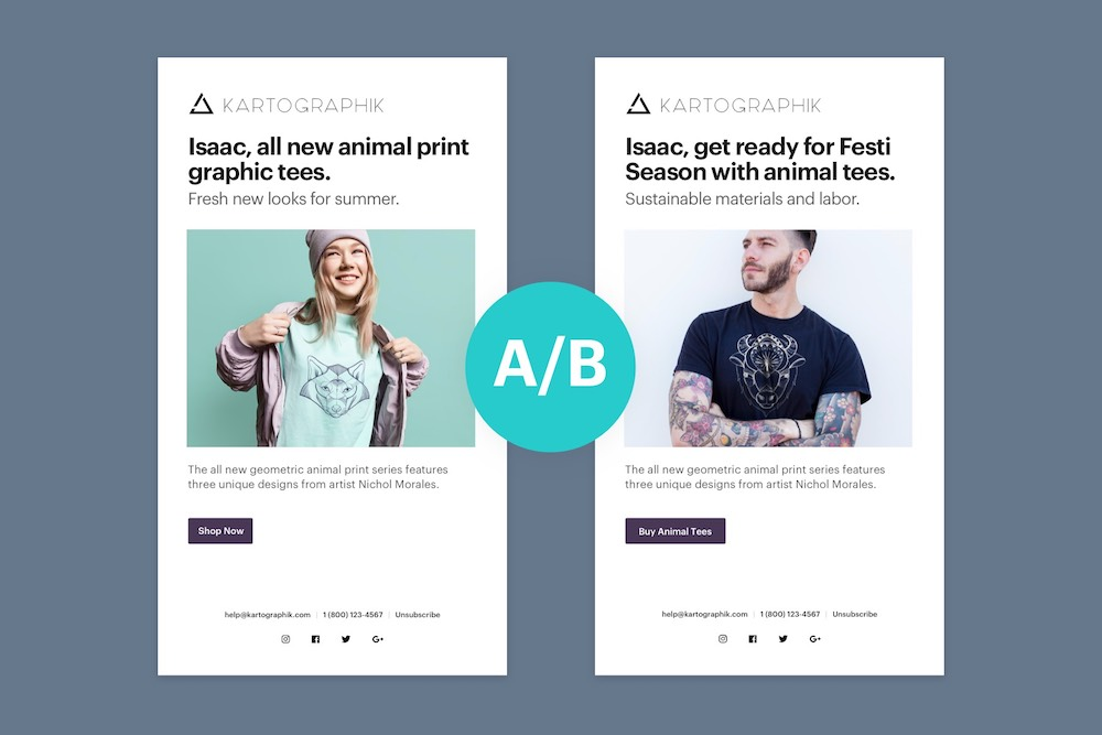 Example test A/B email marketing