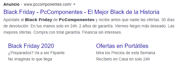 Ejemplo Google Ads Black Friday