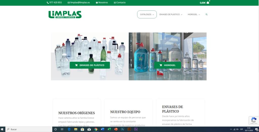 Example Limplas online store's homepage