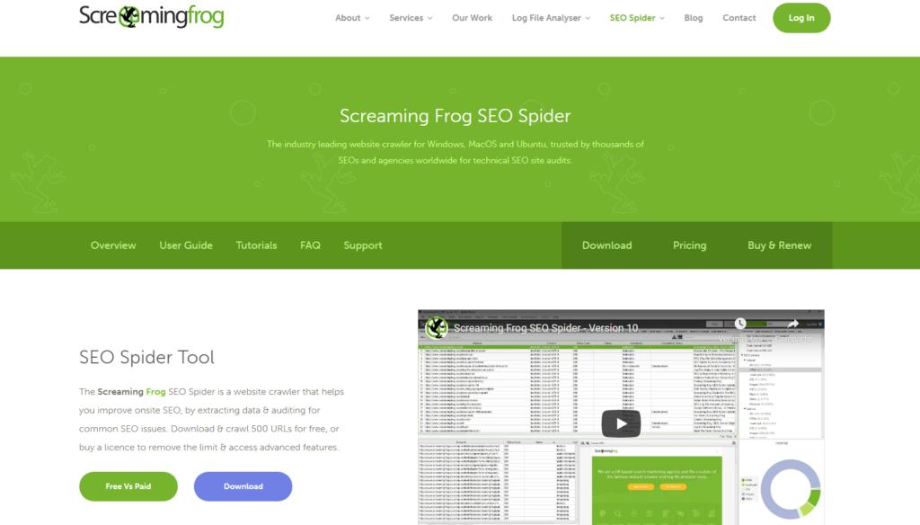 Página principal Screaming Frog