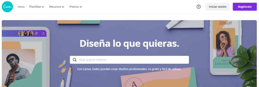 Canva's homepage