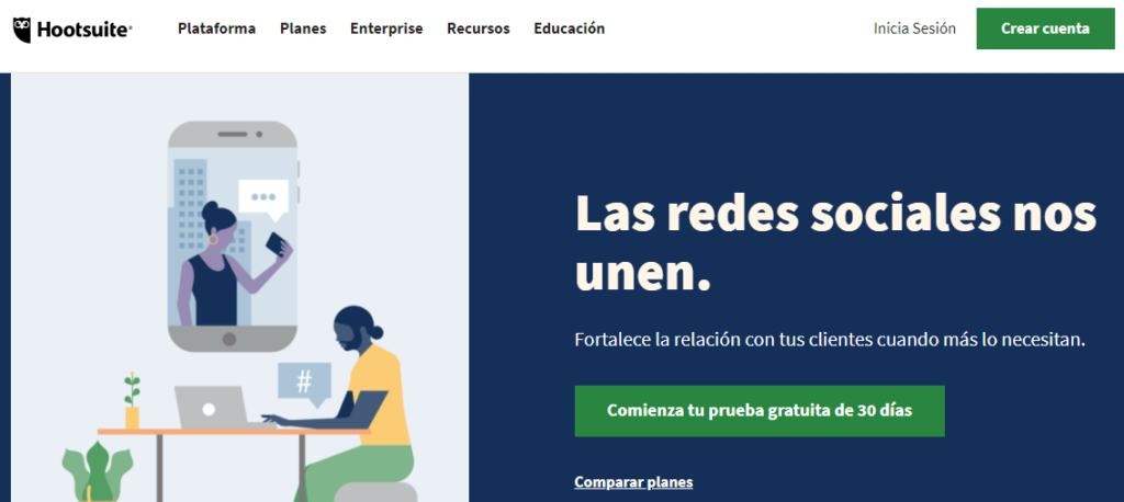 Hootsuite's homepage