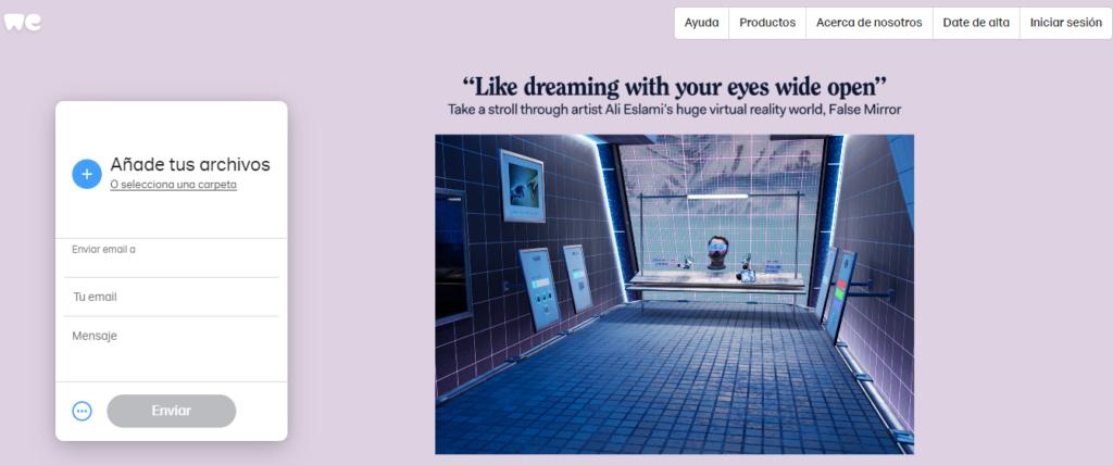 WeTransfer's homepage