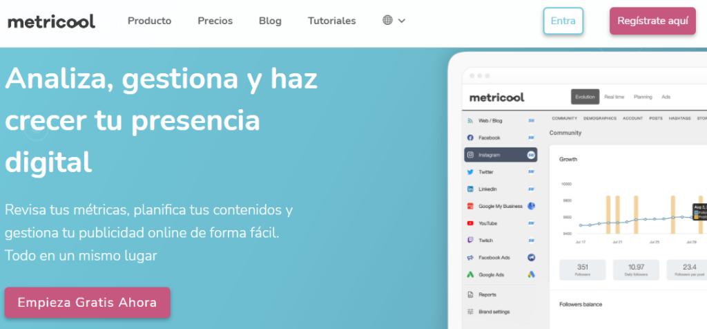 Metricool's homepage