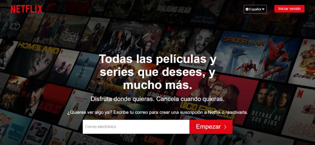 Landing page de Netflix.