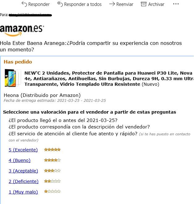 exemple d'una estratègia de mailing per sol·licitar ressenyes d'Amazon