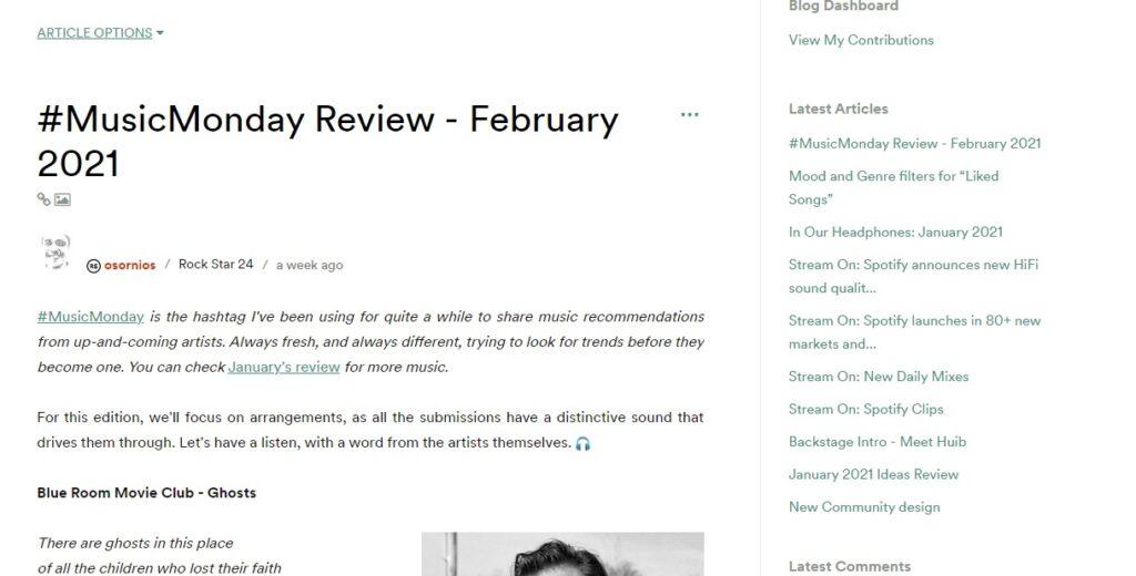 Blog de spotify para su inbound marketing