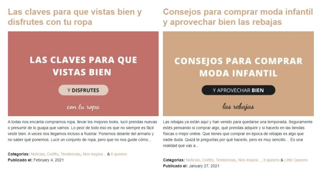 Example of Queen's blog. Writing content: tips and exhibition of your products.
