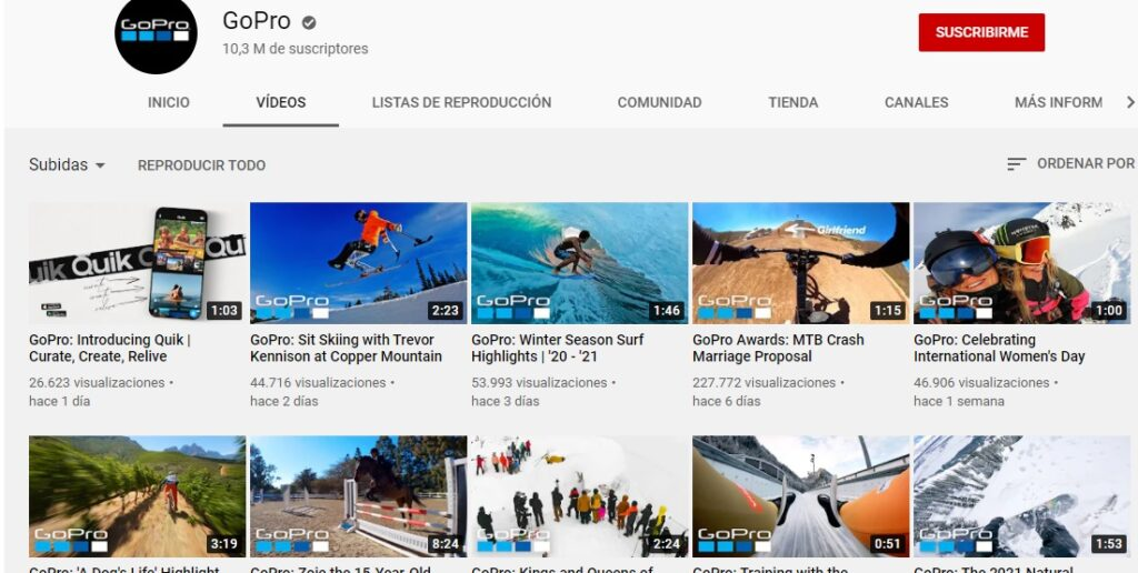 Canal de Youtube de Go Pro per al seu inbound Marketing