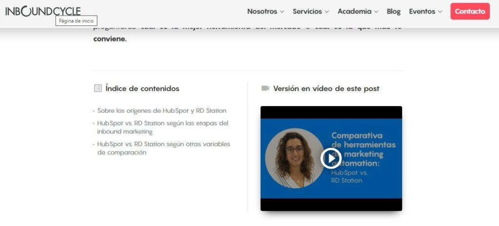 Ejemplo de blog con vídeo.