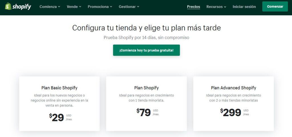 tarifa de precios de Shopify