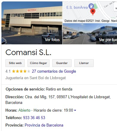 fitxa de google my business de comansi