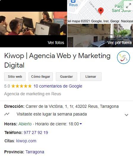 exemple de fitxa google my business de kiwop