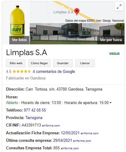 exemple de google tab my business de limplas